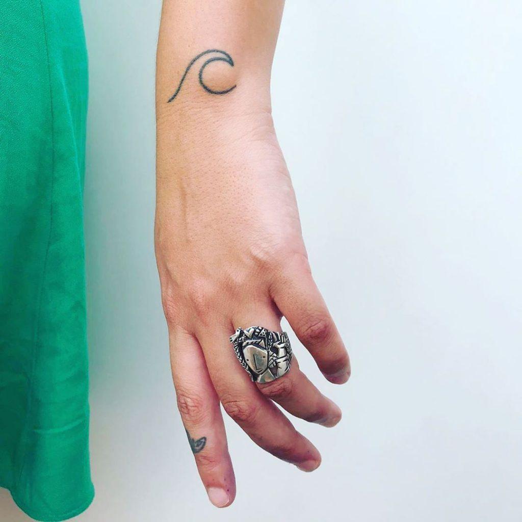 Wave  tattoo on  - Linework style by Eduardo De Souza