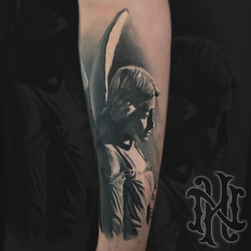 angel    tattoo on  - Black and Grey style by Nick Hemstreet