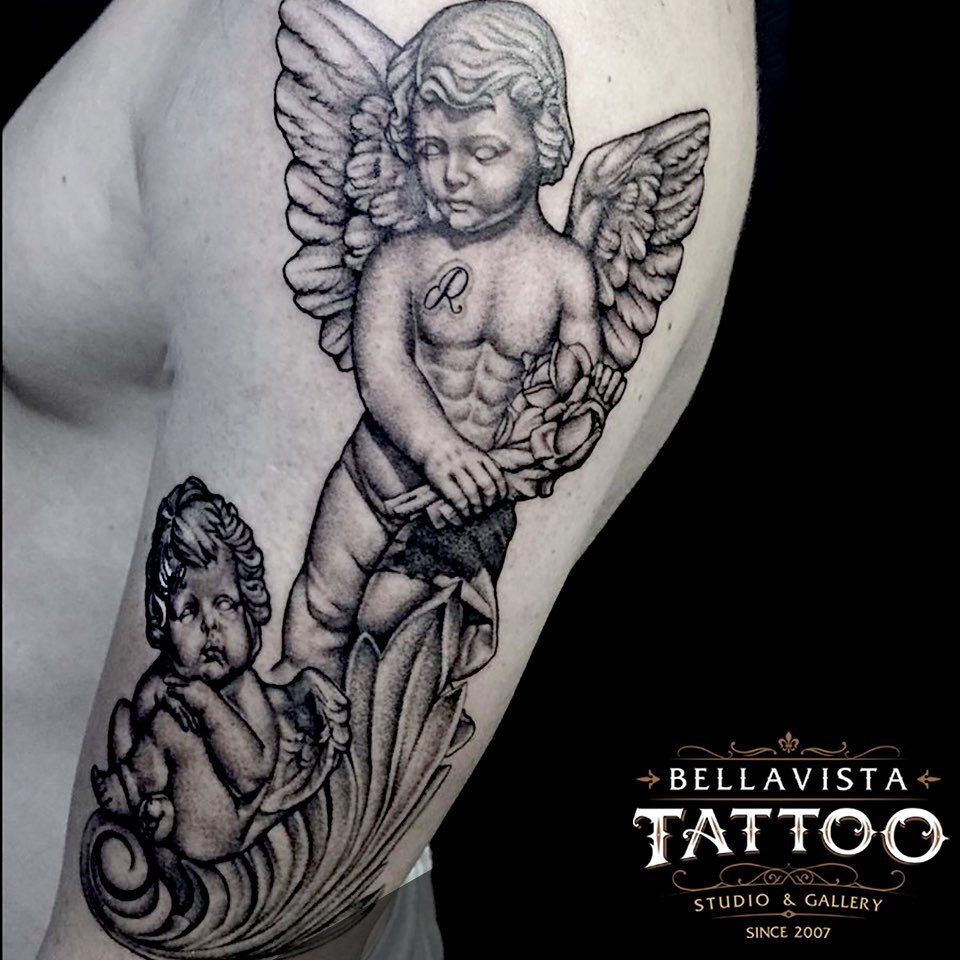 angel    tattoo on Arm (upper) - Black and Grey style by Bellavista Tattoo