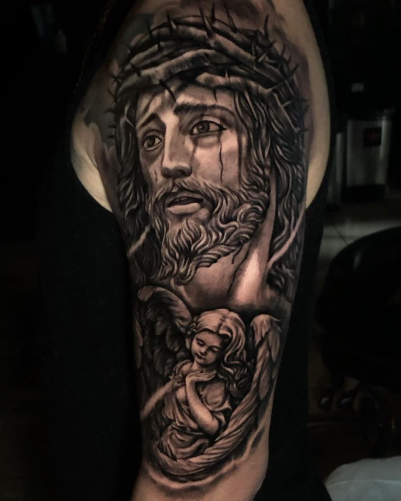 angel    tattoo on Arm (upper) - Black and Grey style by ALFONZO CORTEZ / AUSTIN TX