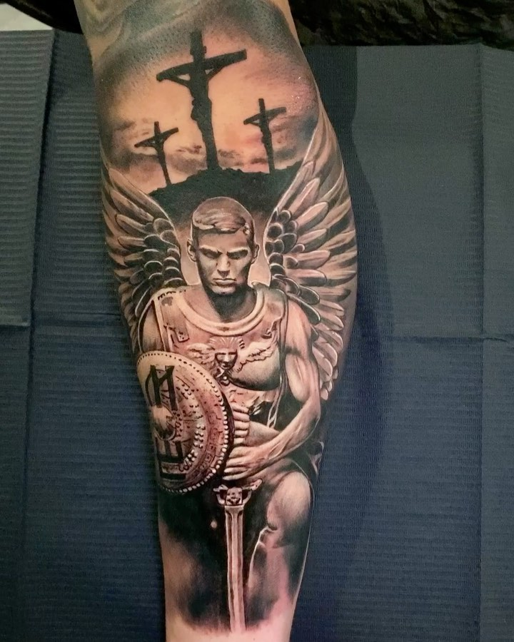 angel    tattoo on Forearm (inner) - Black and Grey style by Marco Klose