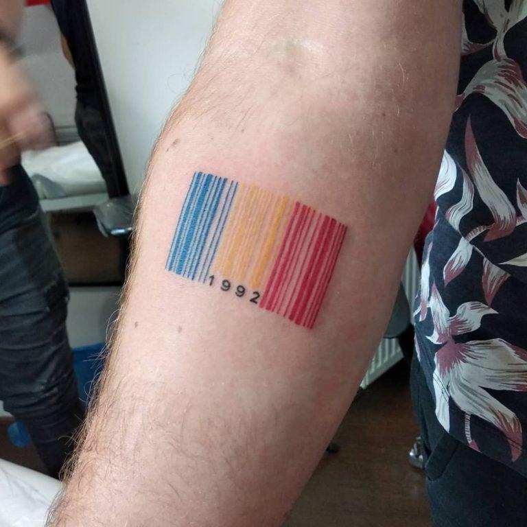 barcode tattoo - Color style by Diana Răduță