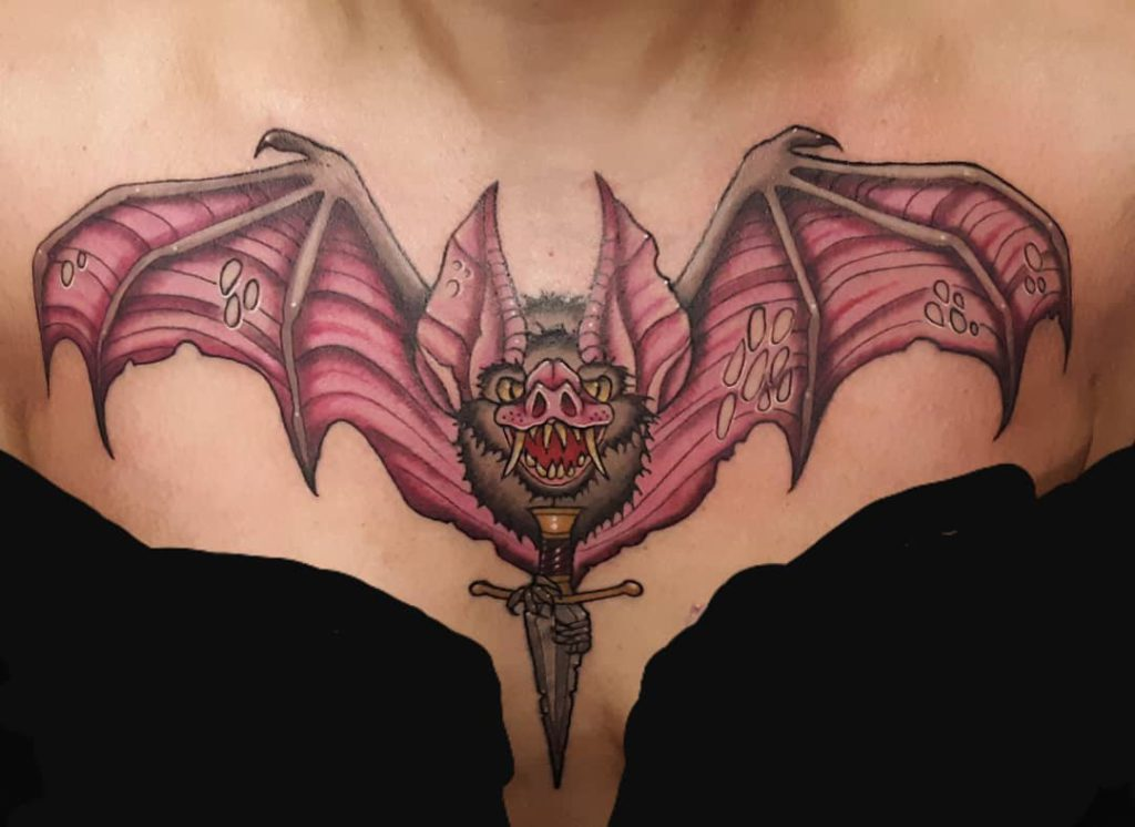 Bat and Dagger Tattoo on Chest - Color style by Darian Williams