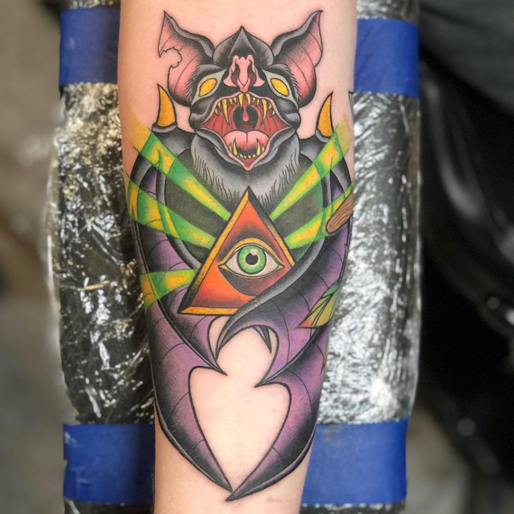 bat eye   tattoo on  - Neo Traditional style by David Dalzell