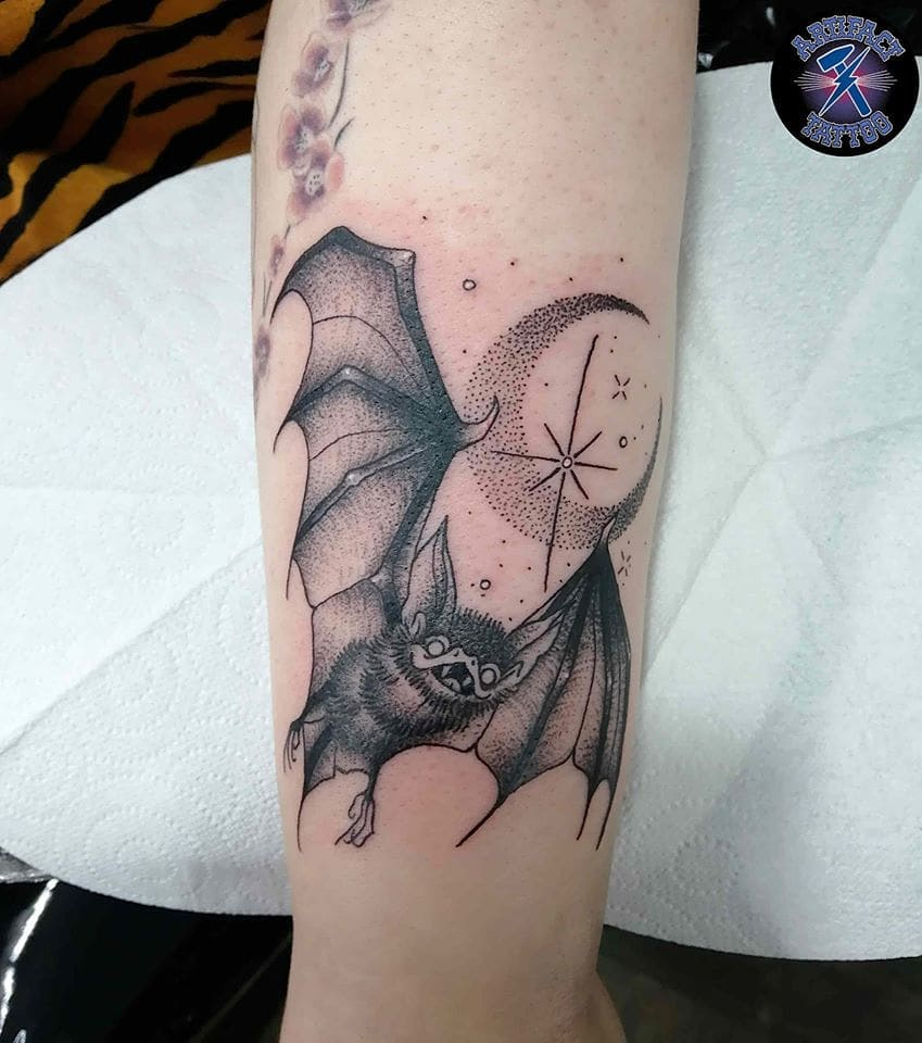 bat moon   tattoo on Leg - Dotwork style by Alayna Chloe Tattoo
