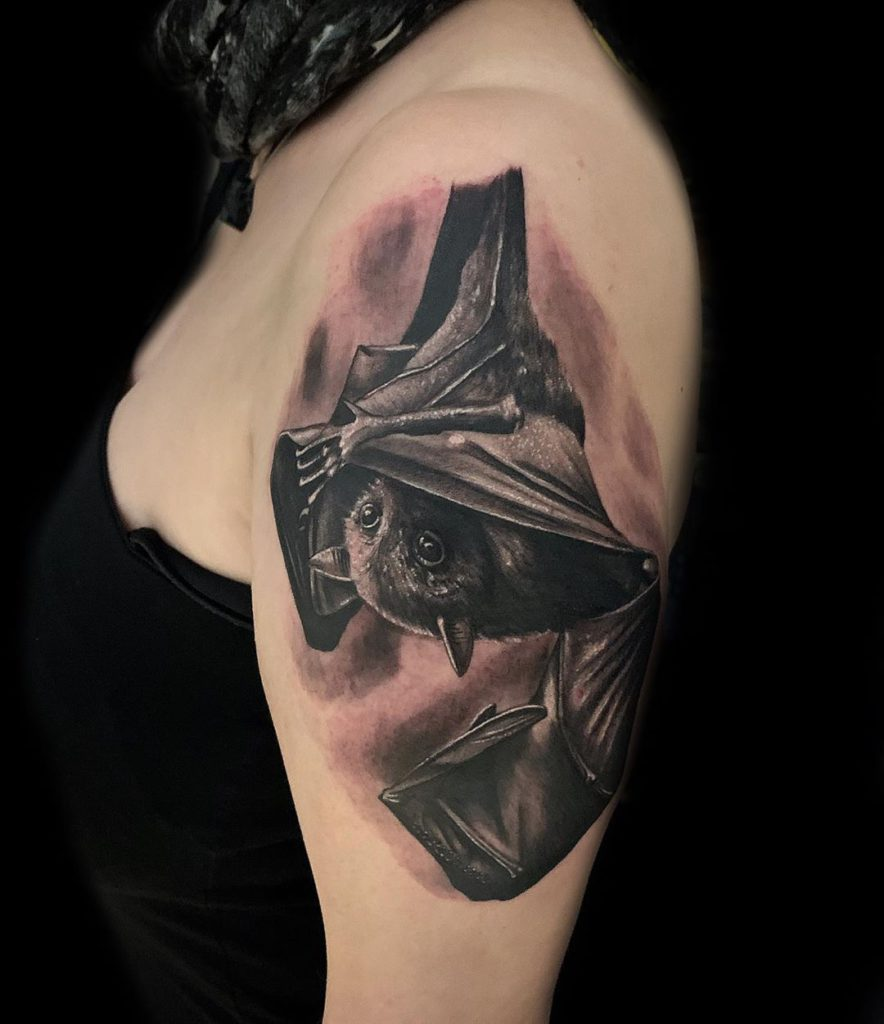 bat    tattoo on Arm (upper) - Black and Grey style by Davide Piaia