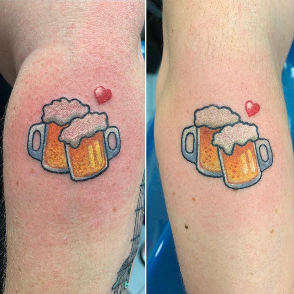 emoji beer drink heart tattoo by Jimmy James