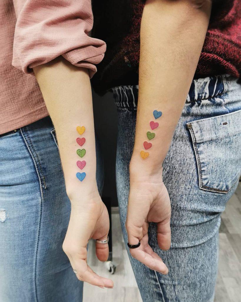 emoji heart matching tattoo on Wrist (inner) by Tanj Njat
