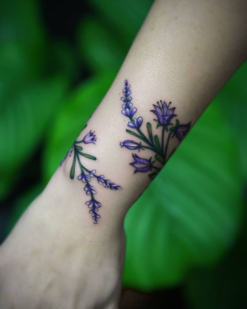 flower botanical lavender tattoo on Wrist (top) - Color style by Ewa Czub