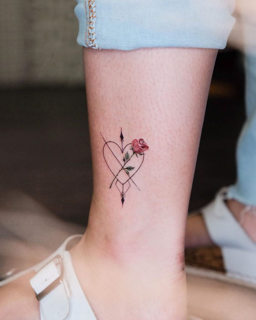 flower botanical rose heart tattoo on Ankle - Fine Line style by christine.rvl