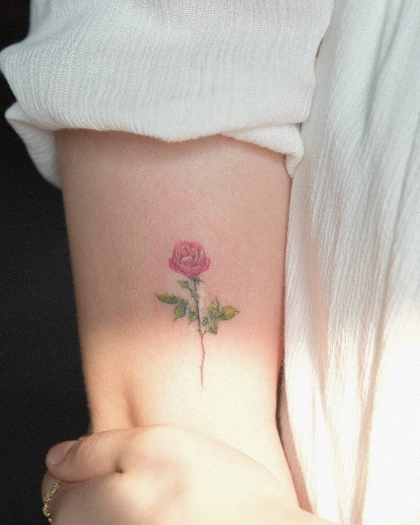 flower botanical rose scar tattoo Fine Line style by Muha