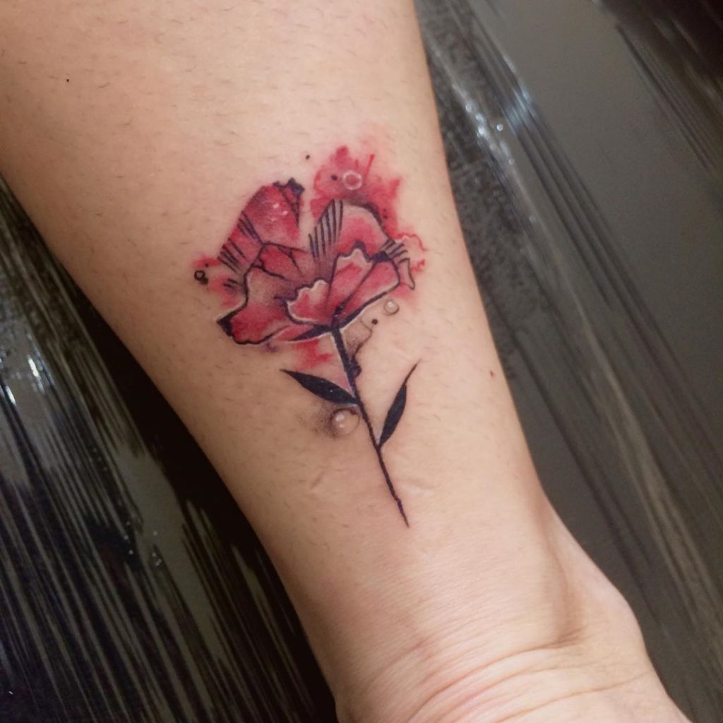 flower botanical rose tattoo Watercolor style by Pradulla Tattoo