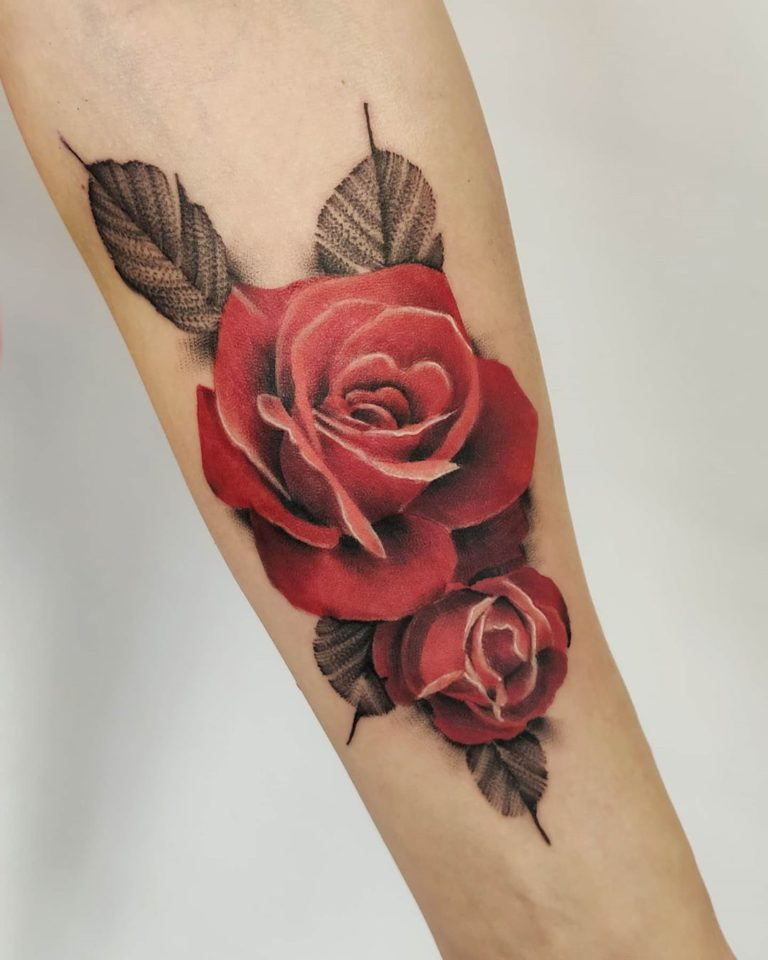 Rose tattoo Color style by Dziary u Barbary