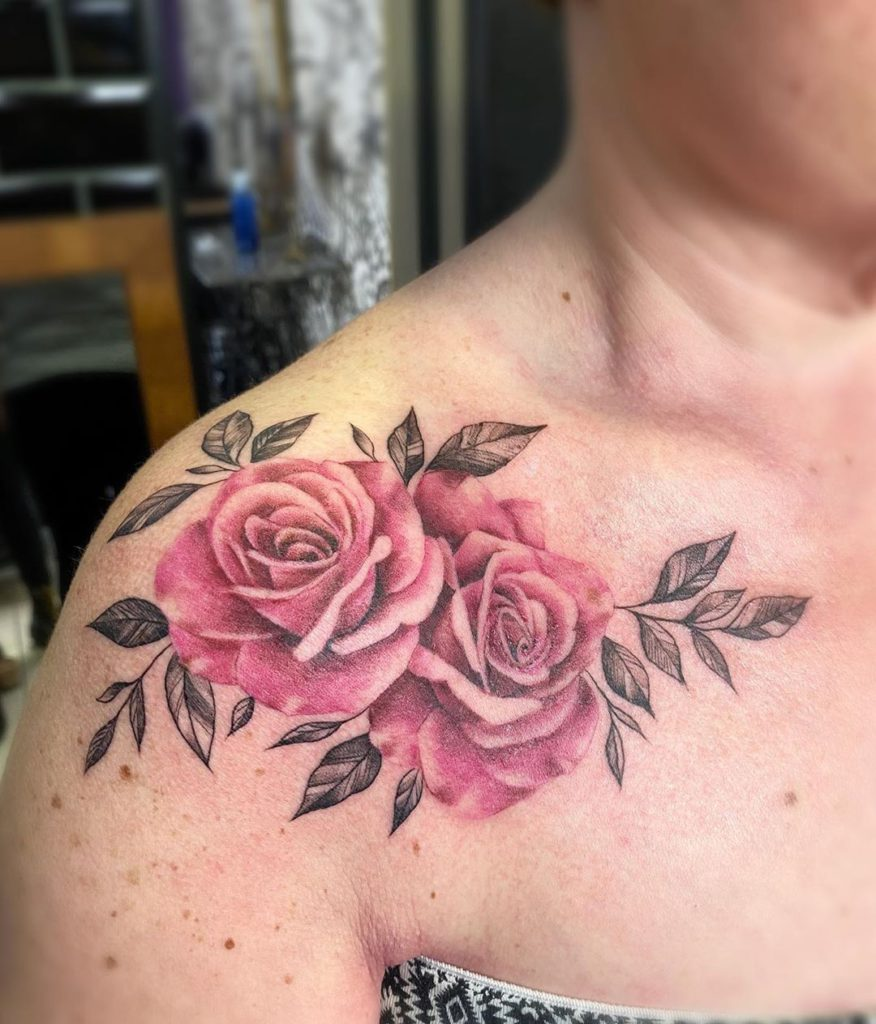 flower botanical rose tattoo on Shoulder - Color style by Elena Baños