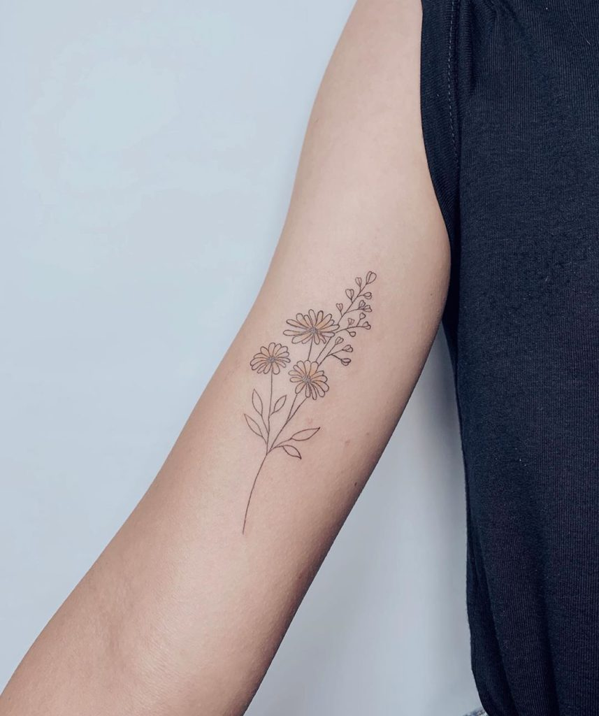 flower botanical sunflower tattoo on Arm (inner) - Fine Line style by Esin