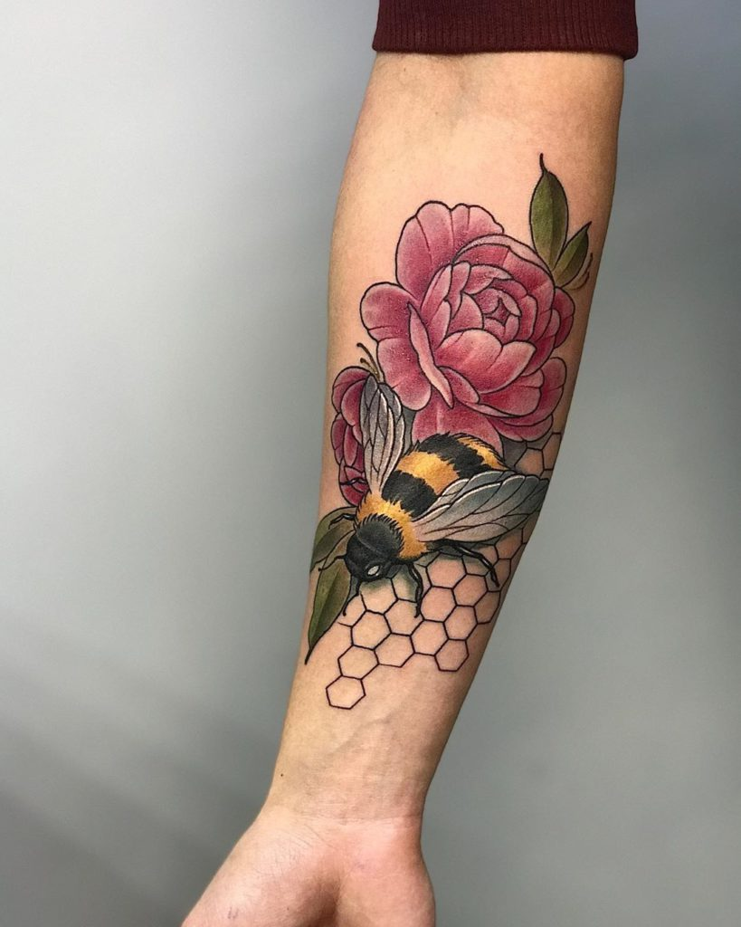 insect bee flower beehive tattoo on Forearm (inner) - Neo Traditional style by Valentyn Furmaniuk