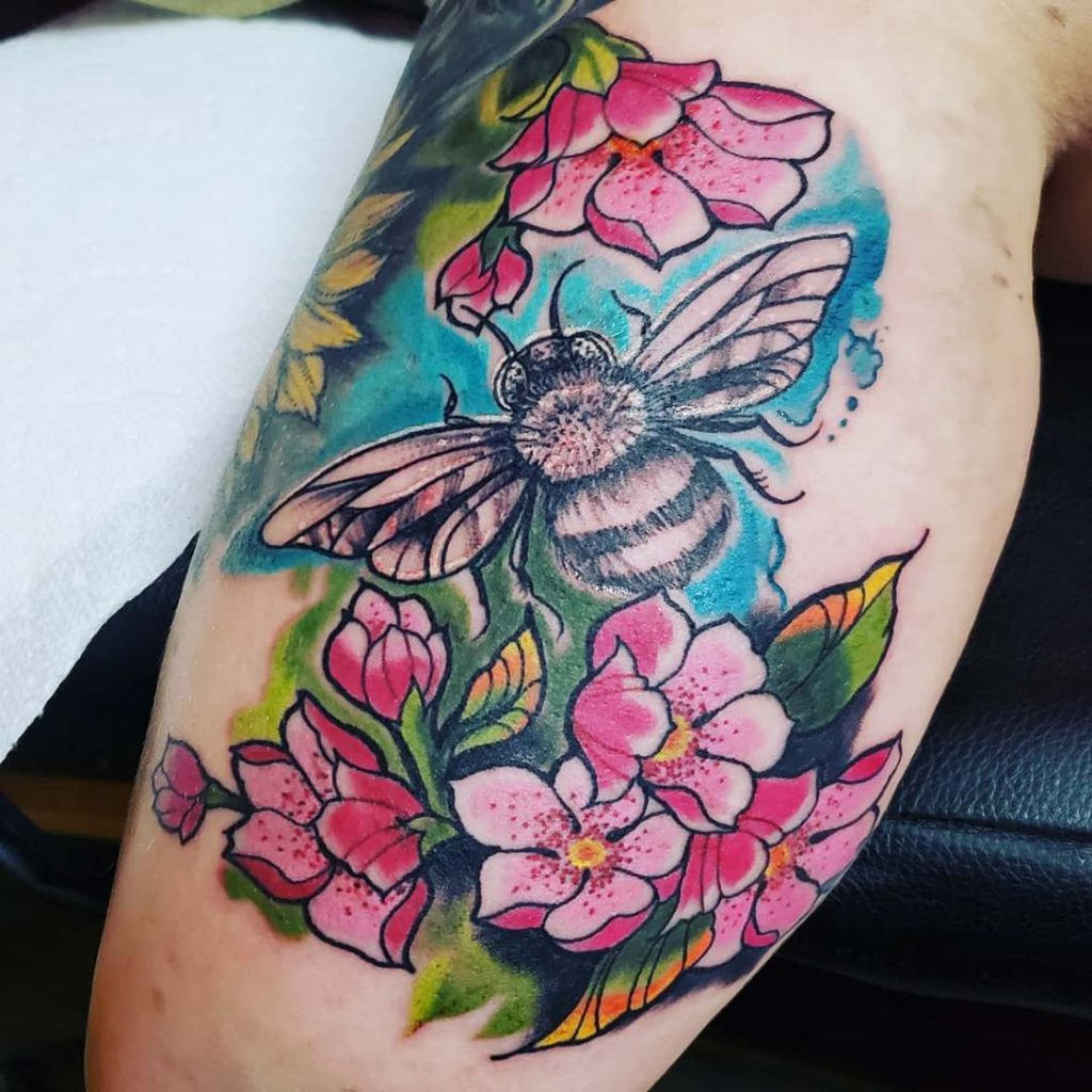 insect bee flower botanical tattoo on - Color style by Kasey_WolfKiller_Tattoos