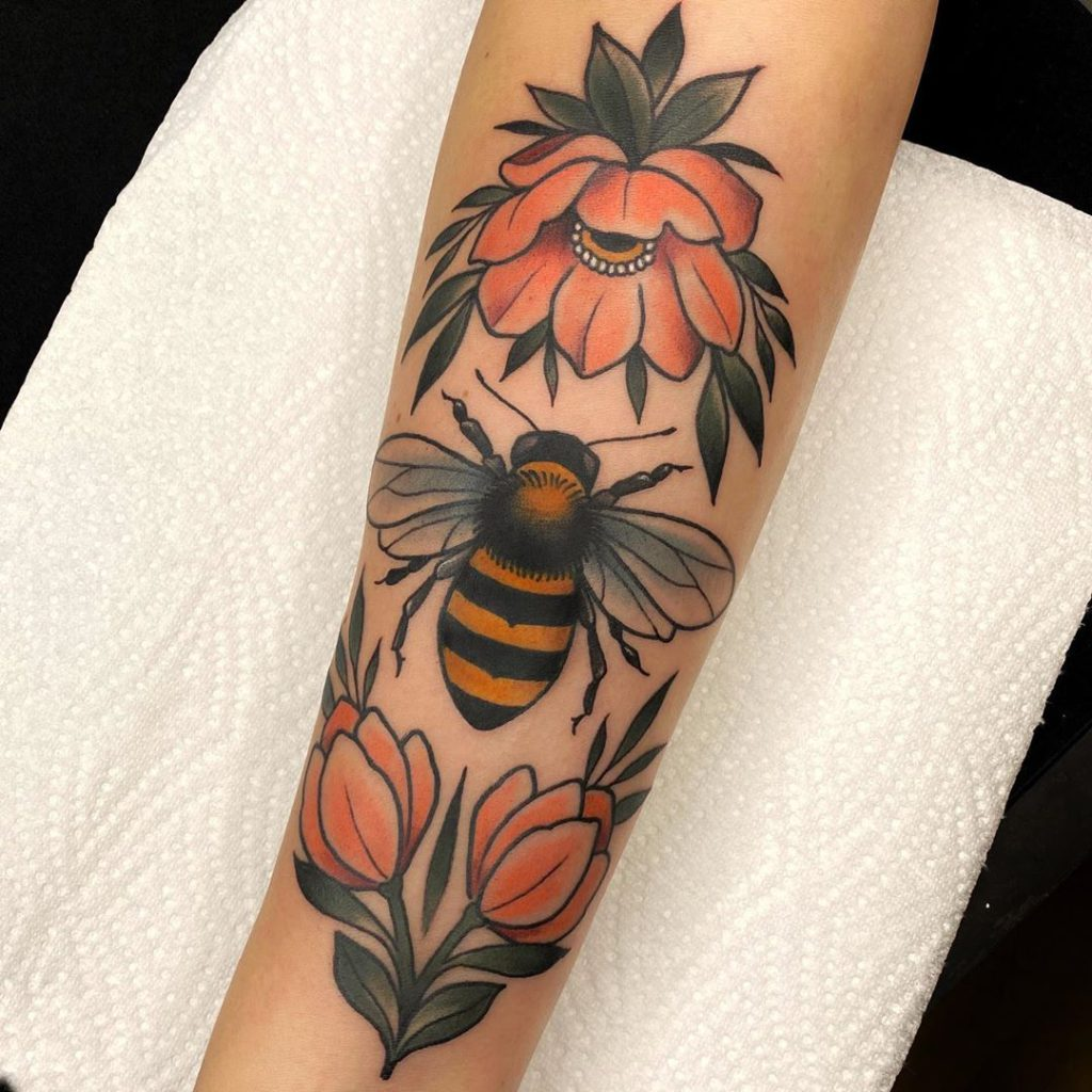 insect bee flower botanical tattoo on Forearm (inner) - Neo Traditional style by Ninja V. Herrmann