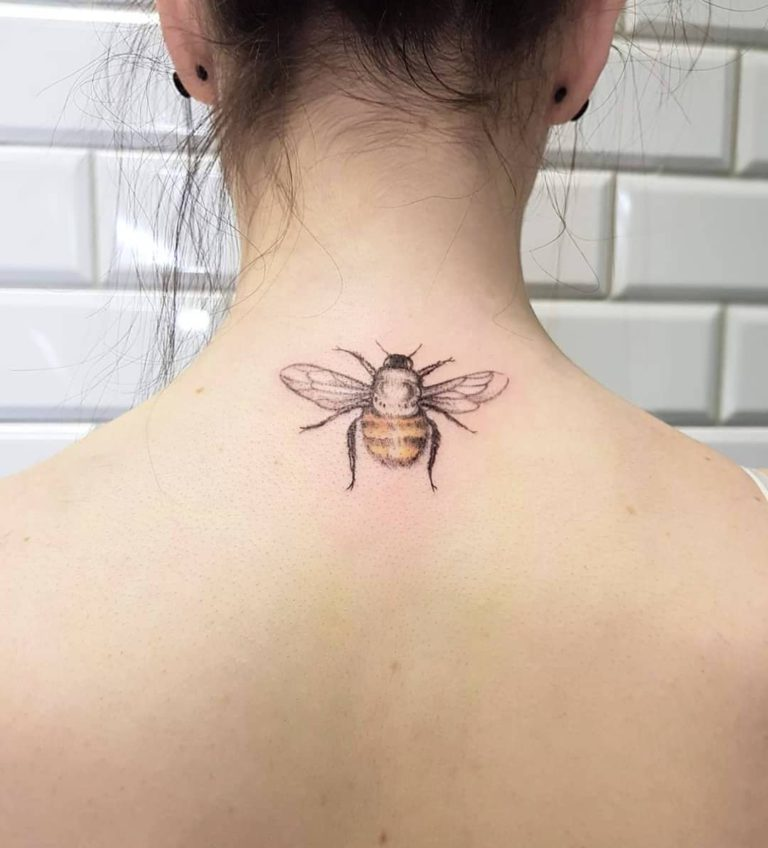 bumblebee tattoo on neck (Back) - Color style by Lidia la rose