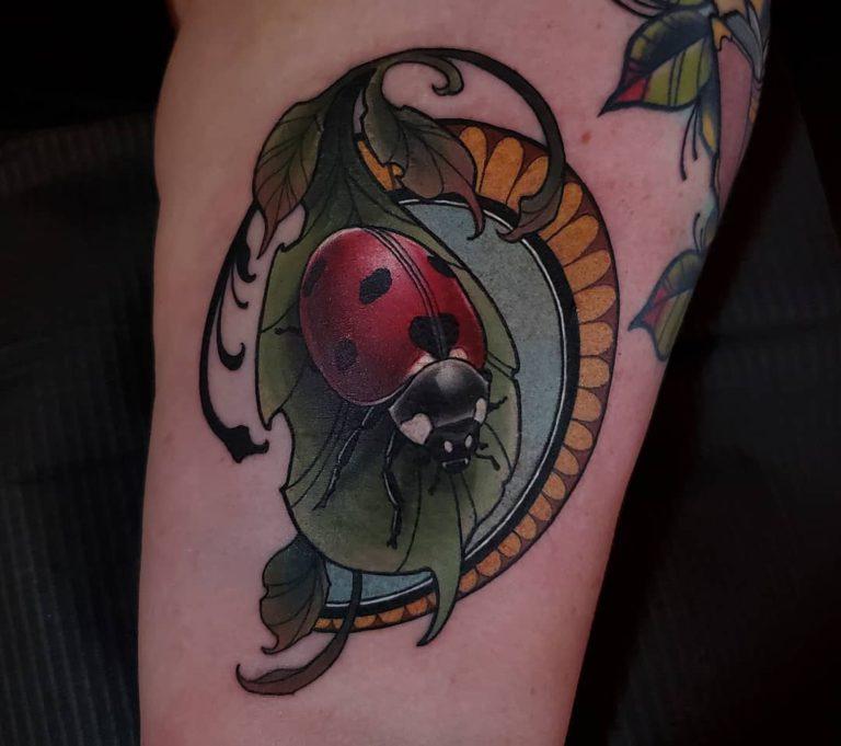 ladybug tattoo - Neo Traditional style by Angela Emr