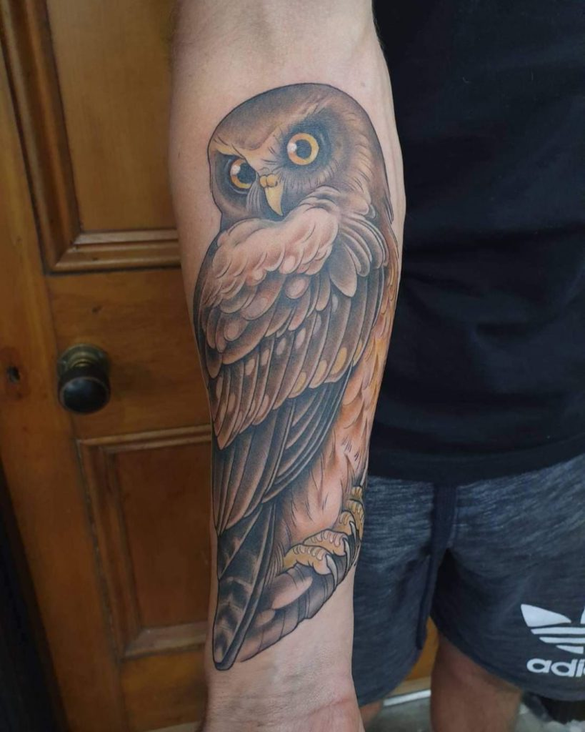 owl bird animal  tattoo on Forearm (inner) - Neo Traditional style by Expression Tattoo