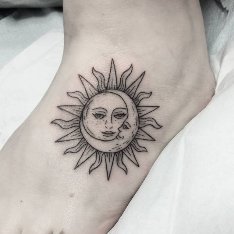 sun moon astronomy tattoo on Foot - Blackwork style by kate johnstone