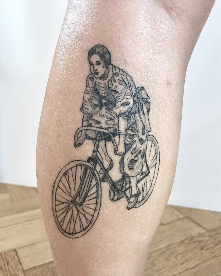 Bicycle tattoo on Calf by Mila Delacroix
