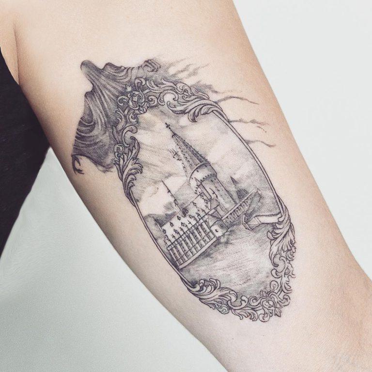 Harry Potter tattoo on Arm (inner) by Marcela Badolatto