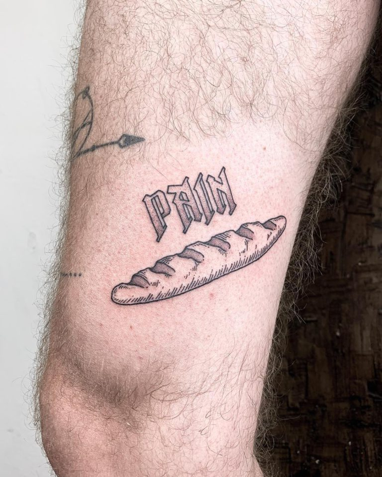 Bread tattoo on Leg by Oliver