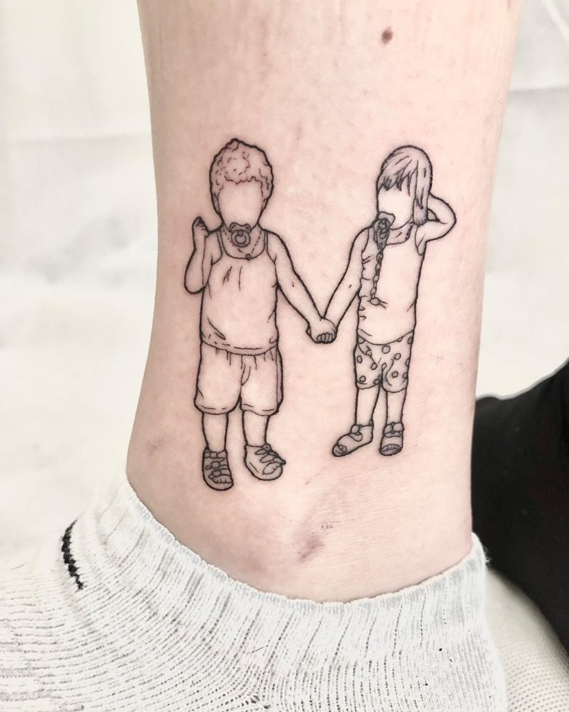 Family tattoo on Ankle by Mila Delacroix