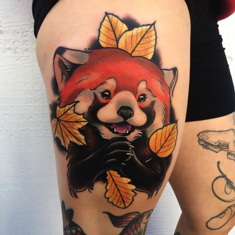 Red panda tattoo on Thigh (side) by Mike Stockings