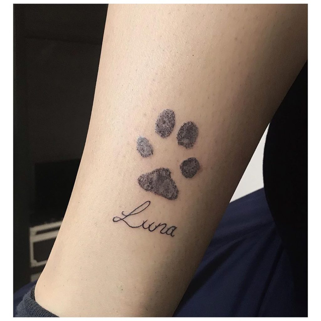 Dog tattoo on Ankle by Rittual Rubio