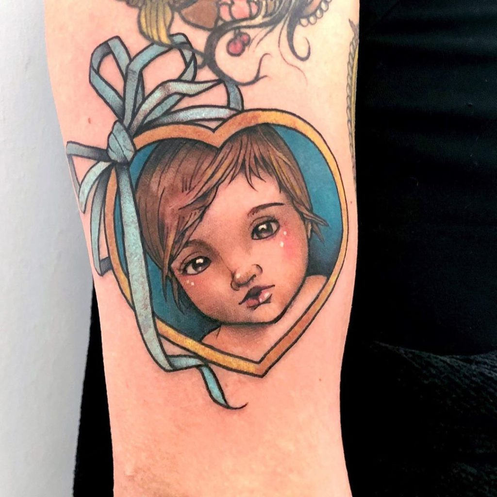 Baby tattoo on Forearm (back) by Stefano Giorgi