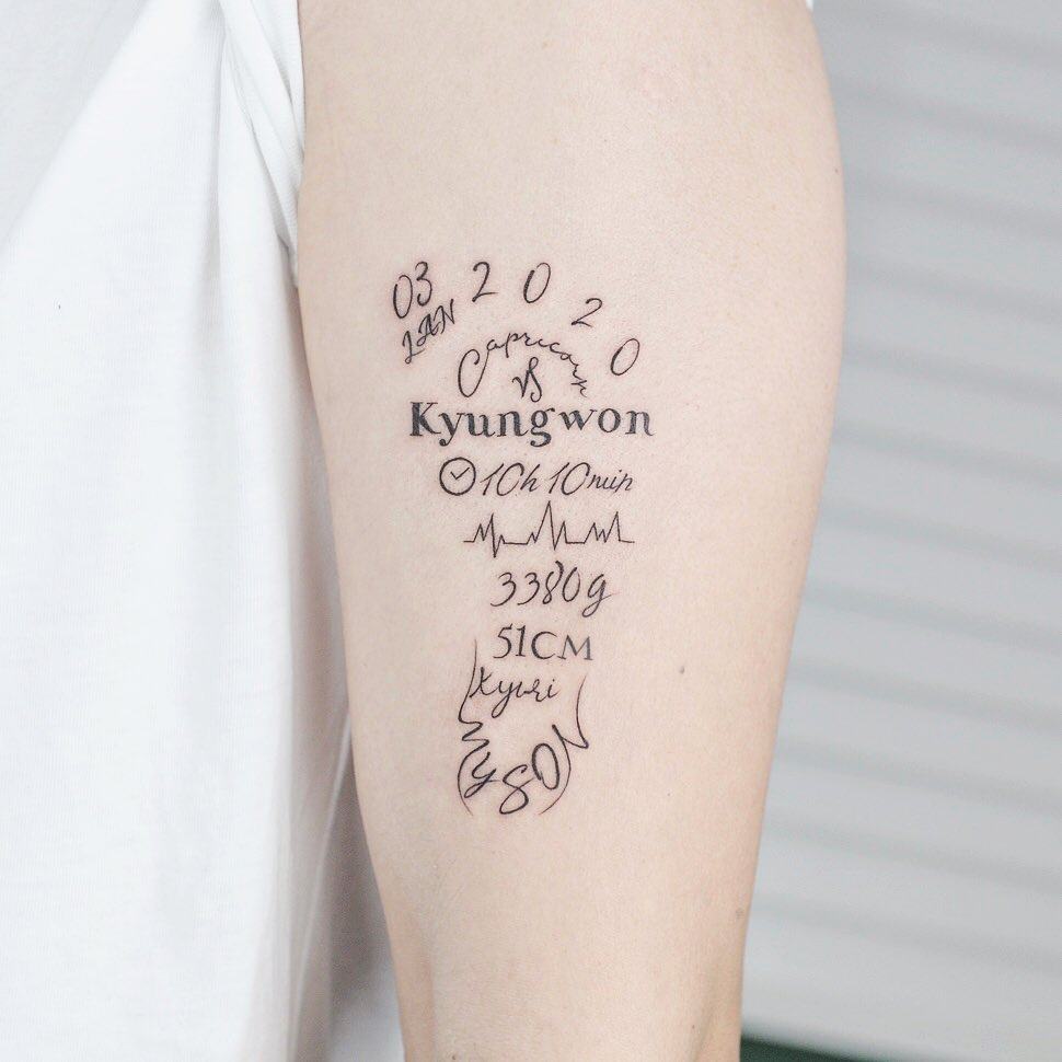 Baby tattoo on Arm (inner) by Green