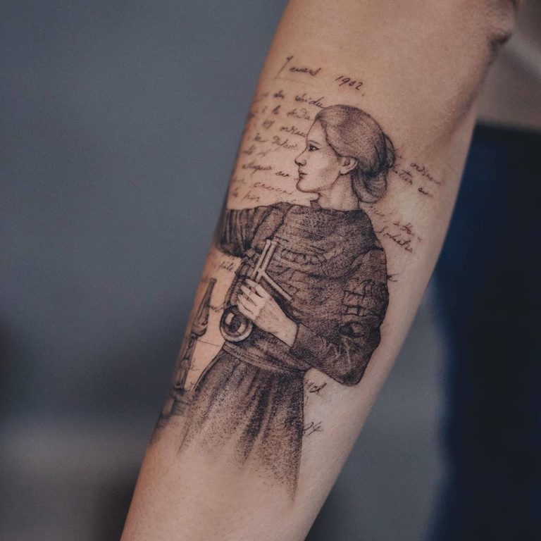 Marie Curie tattoo by Marcela Badolatto