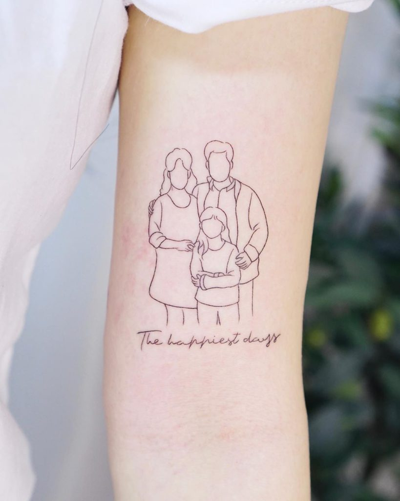 Family tattoo on Arm (inner) by Ziv