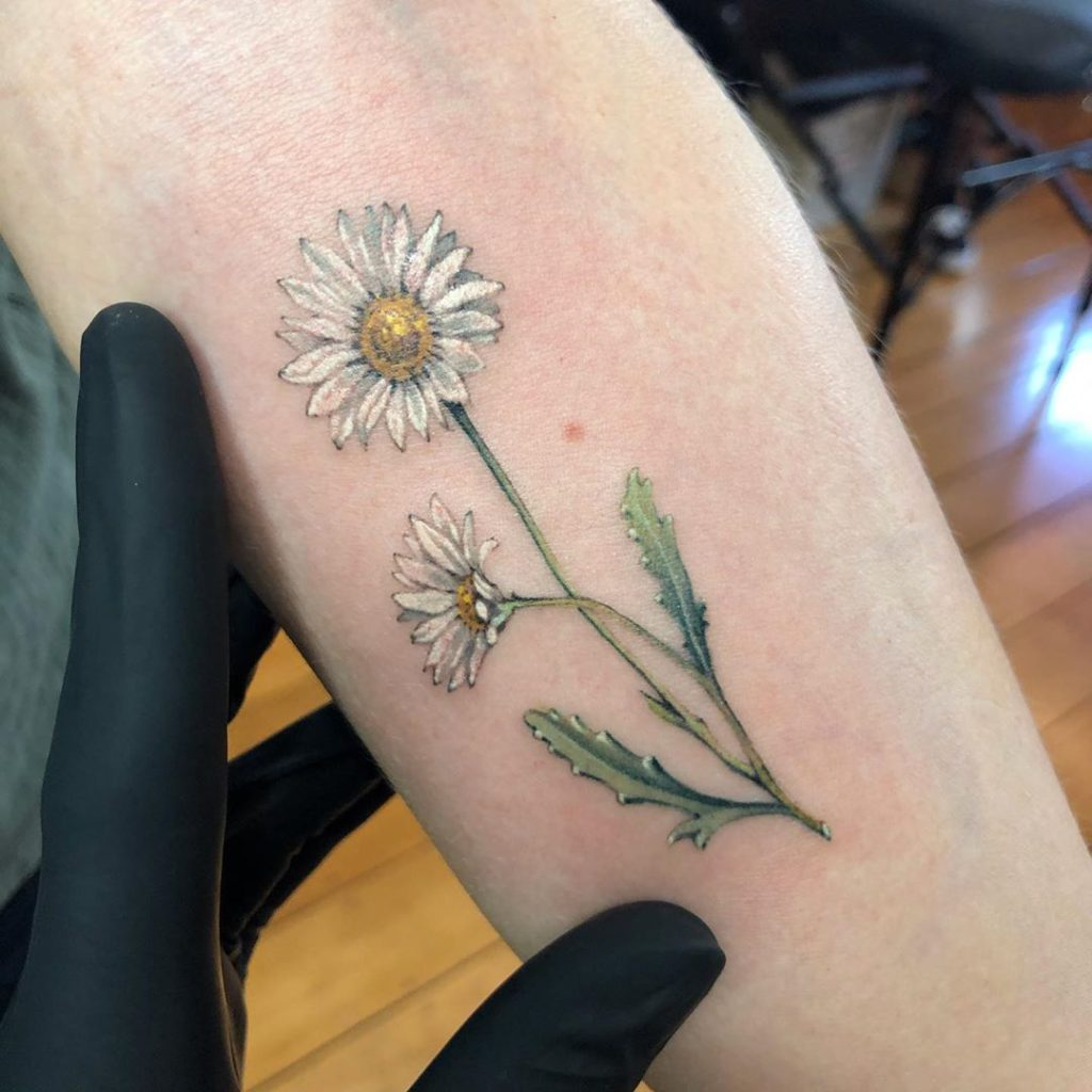 Daisy tattoo by Jacob Ditchmen