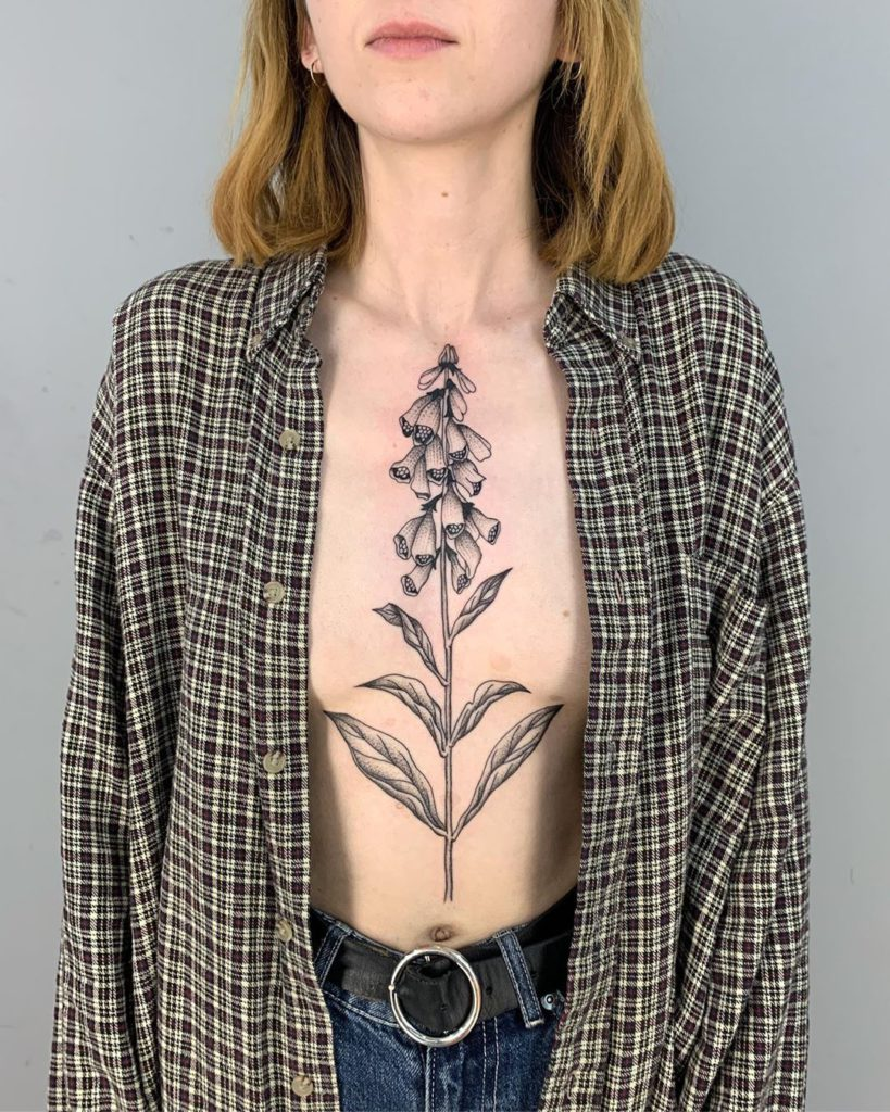 Foxglove tattoo on Chest by Alvaro Groznyy