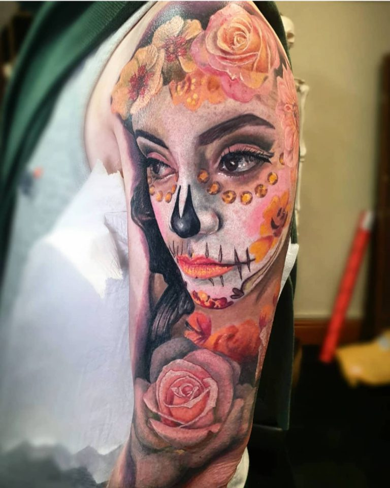 Day of The Dead tattoo on Arm sleeve (half) by Lisa Scrimgeour