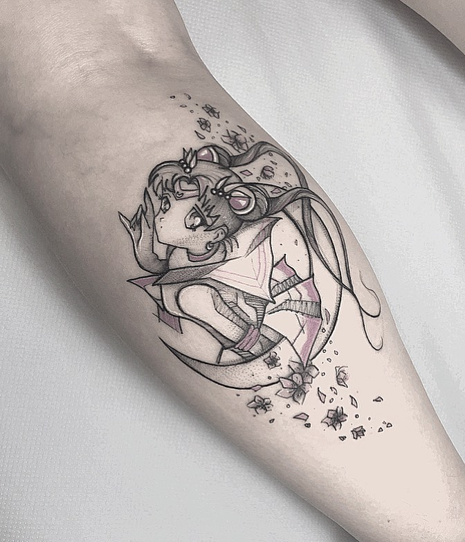 Anime tattoo on Calf by Miriam