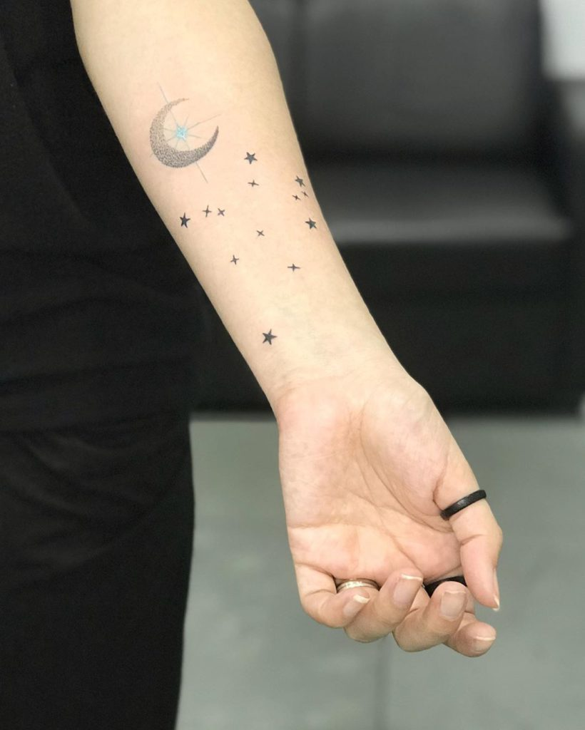 Aquarius tattoo on Forearm (inner) - Blackwork style by newton