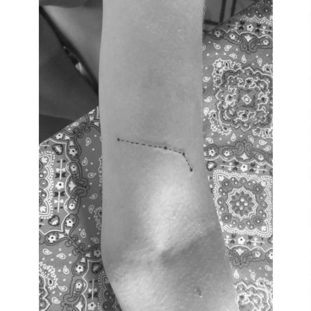 Aries tattoo on Arm (inner) - Fine Line style by Mariana Montenero