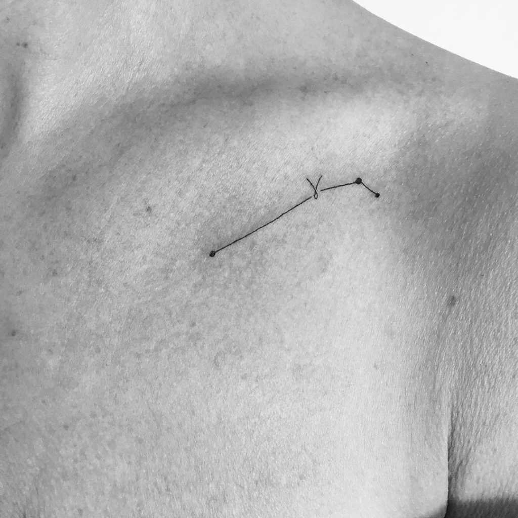 Aries tattoo on Collarbone - Fine Line style by tattooine