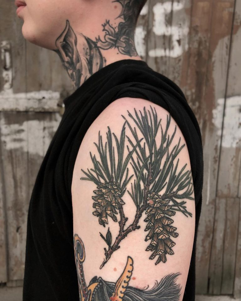 Botanical tattoo on Arm (upper) by Olga Nekrasova