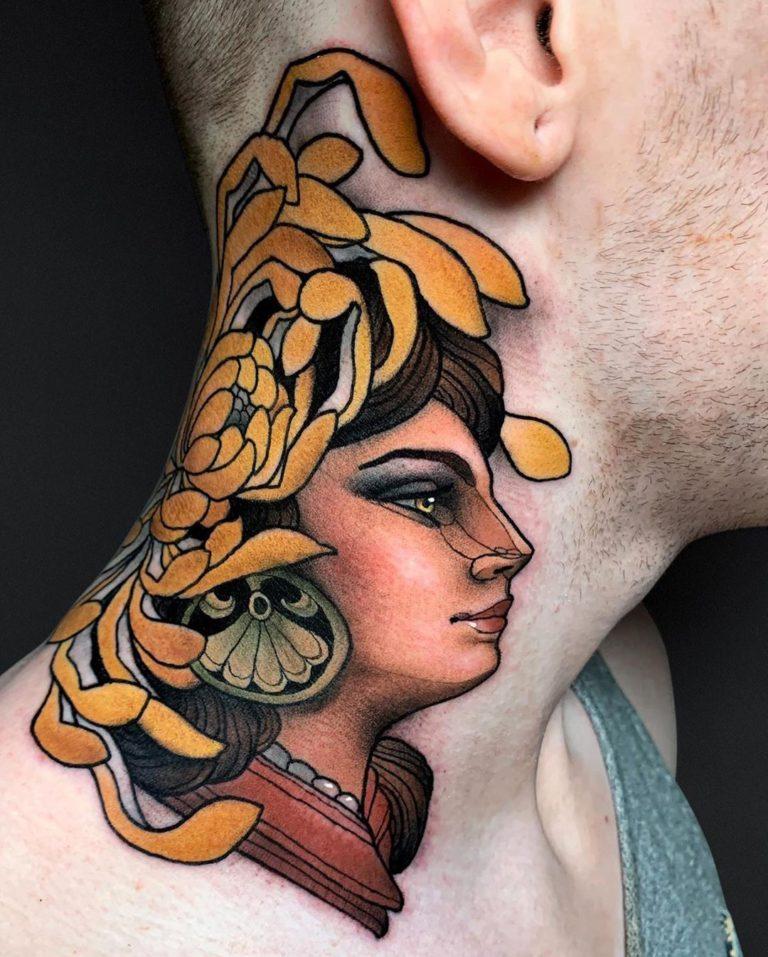 Chrysanthemum & Woman tattoo on Neck - Neo Traditional style by Krish Trece