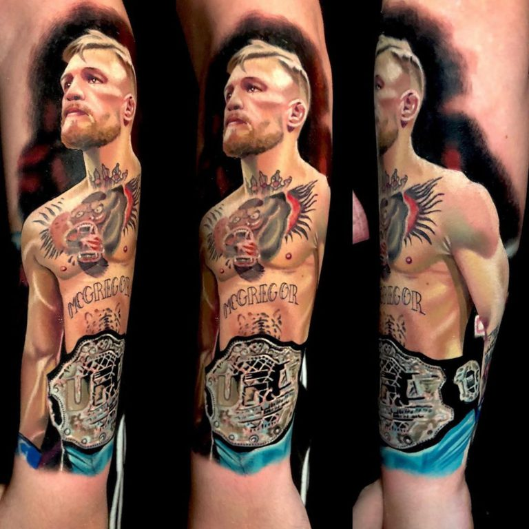 Conor McGregor tattoo on Forearm (back) - Color style by Chris Meighan