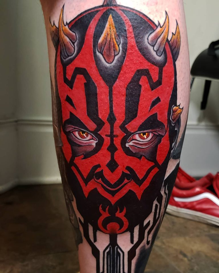 Darth Maul tattoo on Calf - Color style by Alex Harris