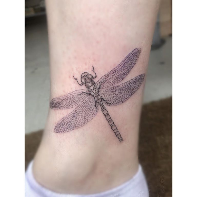 Dragonfly tattoo on Ankle - style by martha Smith