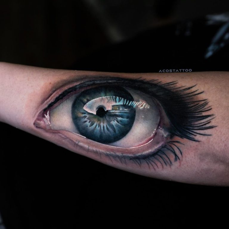 Eye tattoo on Forearm (back) by Andrés Acosta