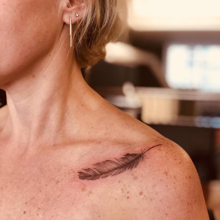 Feather tattoo on Collarbone by LIANNA